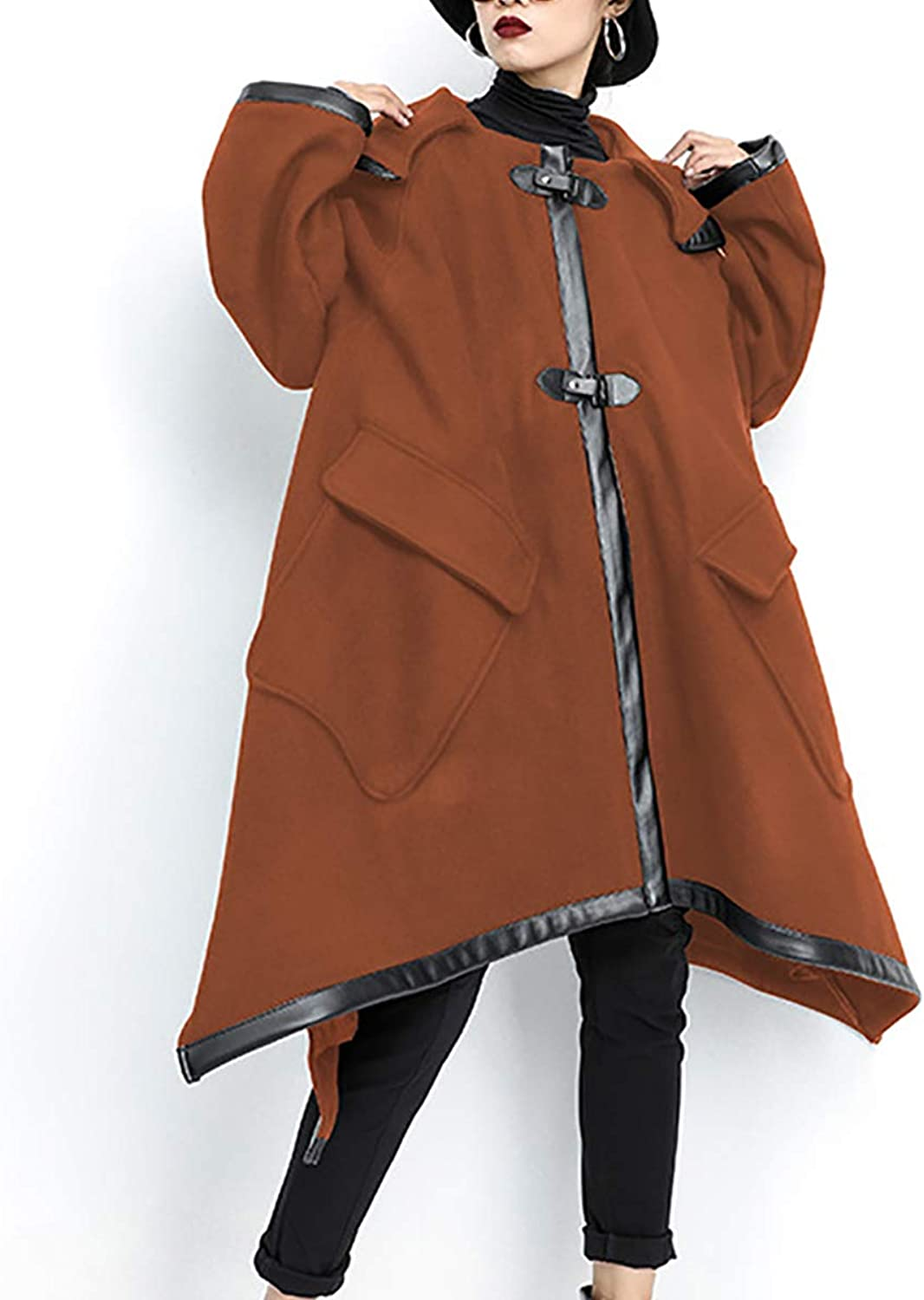 Women's Woolen Long Coat Winter Warm Loose Cardigan Irregular Hooded Cloak,Brown