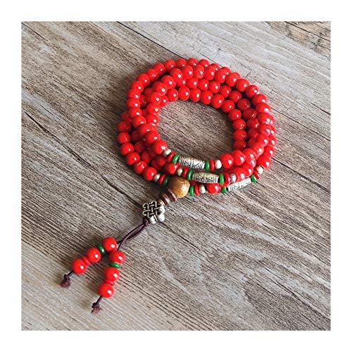 OYZK 6mm 108 Cuentas Mujeres Tibetano Budismo Chakra Mala Pulsera Yoga Curación de Mala Charm Charm Blanco Pulsera Joyería Roja (Metal Color : Rojo)