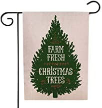 Anucky Christmas Decorations Outdoor 12.5 X 18 Inches,Burlap Christmas Decorations Christmas Tree Farm Grunge Rubber Stamp White Background Vintage Sign Double-Sided Seasonal Garden Flags