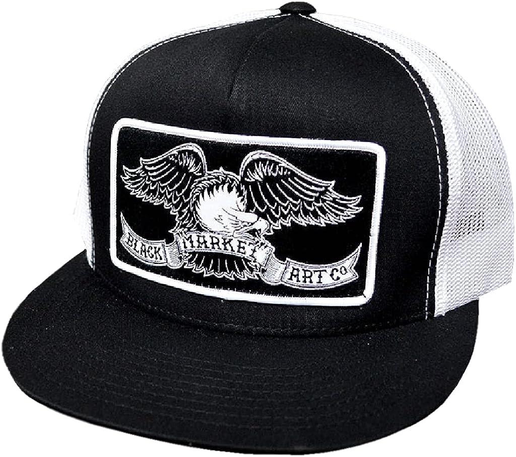 Black Market Art Co Ian McNiel Eagle Classic Two Tone Trucker Hat Black & White