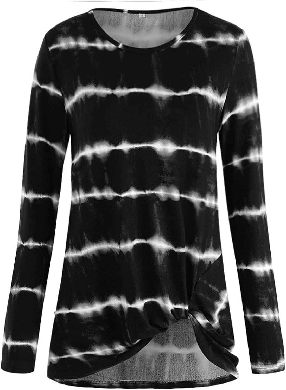 NIKOKER Crewneck Sweatshirt Pullover Sweatshirt, Fashion Tie-Dye Stripes Long Sleeve Casual Suitable Work Sports