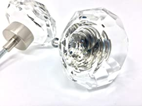 LOTS of 2 of OLD TOWN DIAMOND CUT 24% Lead Crystal Glass Ice Clear Knob Pulls - BRUSHED NICKEL trim. 1-1/4