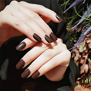 YienDoo 24PCS False Nails Artificial Short Coffee Color Square Head Short Brown Nails for Women and Girls