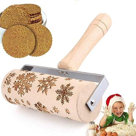 Rouleau à Pâtisserie, Rouleaux à Pâtisserie en Bois Hêtre Gaufrage Rouleau, Rouleau Gravé de Noël Outil à pâtisserie Cuisine gravé en Relief Décoration de Noël pour Fondant, Gâteau, Pâte, Pizza