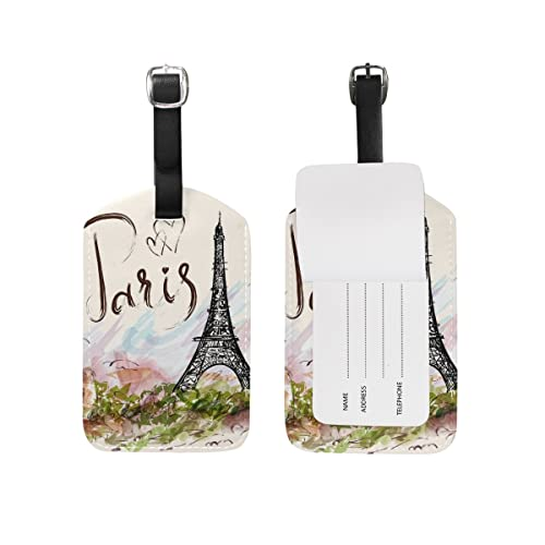 Cooper girl Hand Drawn Paris Eiffel Tower Luggage Tag Travel ID Label Leather for Baggage Suitcase