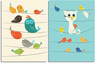 Painting Mantra Birds Theme 2 Art Paper Poster Set for Kids Room (12x16 Inch)