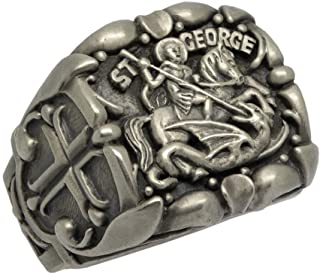 Saint St. George Roman Soldier handcrafted Sterling Silver 925 men's ring, Custom made