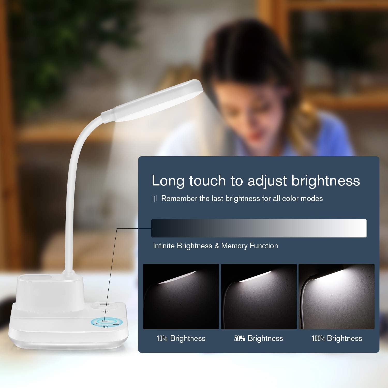 3 Modes de Couleur et Veilleuse et Gradation en Continu Lampe de bureau /à LED Blanc Lampe de Bureau Rechargeable BZBRLZ avec port de Chargement USB et Porte-Stylo