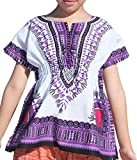 RaanPahMuang Childs African Dashiki Festival Bright Cotton Open Collar Shirt, Small, White with Purple
