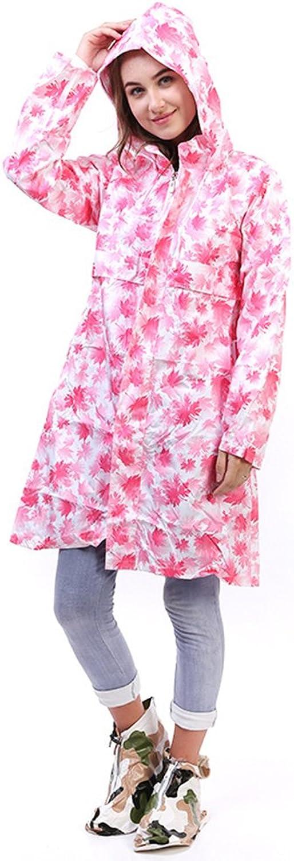 Adult Siamese Raincoat Women's Windbreaker Long pink Red Cap LongSleeved Hiking Raincoat Mountaineering Poncho