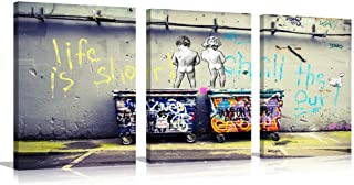 Graffiti Canvas Wall Art Painting Modern Banksy Colorful Figure Street Picture for Living Room Decoration (Colorful, S)