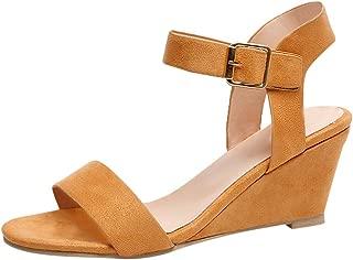 Women's Summer Ankle Strap Buckle Low Wedge Platform Heel Sandals Fashion Design Pump Shoes (US:7, Brown)