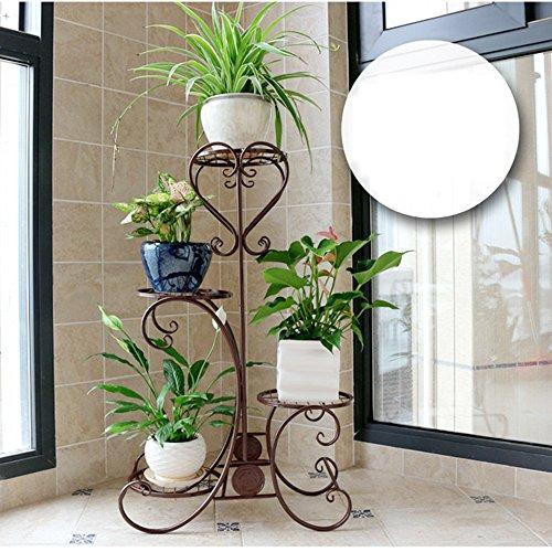 Ensemble de fleurs en fer à style européen Balcon balcon à étage à plusieurs étages (Couleur : Chocolat Couleur)