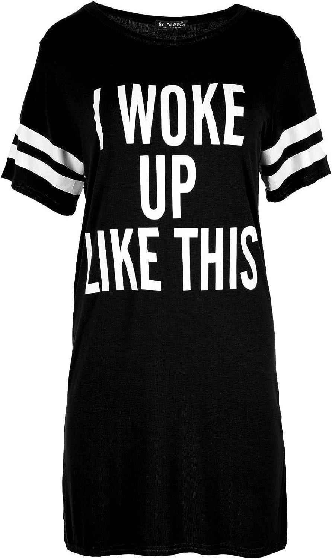 Be Jealous Women's Baggy Dress Cap Sleeve I Woke Up Like This Jersey T Shirt Plus Size (US 16/18) Black