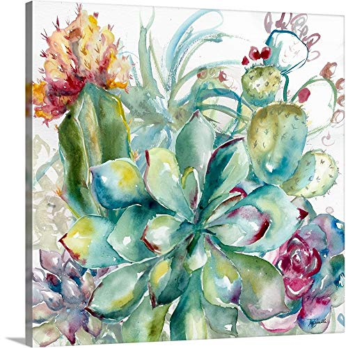 Succulent Garden Watercolor I Canvas Wall Art Print, 24'x24'x1.25'