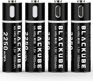 USB充電式単3形 防塵フタ付け 電池 1500mAh / 1.5V リチウムイオン充電池 マイクロUSB充電ケーブル付 急速充電1.5時間マ充電 (4本入り)