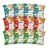 Popchips Potato Chips, Variety Pack, Single Serve 0.8 oz Bags (Pack of 12), 3 Flavors: 4 Sea Salt, 4 BBQ, 4 Sour Cream & Onion