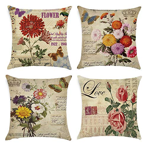 Gspirit 4 Pack clásico Las Flores Rosa Algodón Lino Throw Pillow Cas
