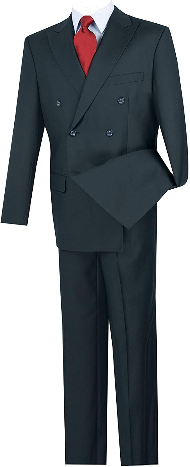 VINCI Men's Wool Feel 6 Button Double Breasted Solid Color Suit DC900-1