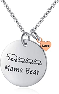 Mama Bear Jewelry, Personalized Hand Stamped Stainless Steel Cuff Bracelet with Momma Baby Bears Cubs Gifts for Mom Mother Women Wife Family