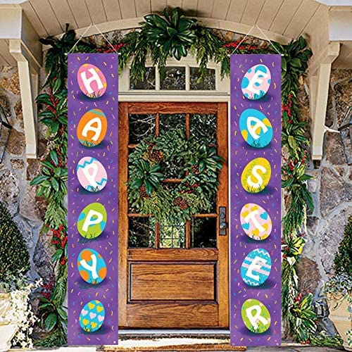 ManLee Easter Porch Sign Banner Easter Door Banners Hanging Easter Decorations Porch Sign Set product image