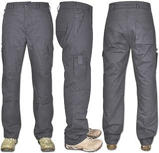 Qamfort Mens Cargo Combat Work Trouser 100% Cotton Pant Jogger 8 Pockets Knee pad Pocket