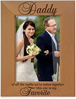 Kate Posh Daddy of All The Walks We've Taken Together This one is My Favorite. Engraved Natural Wood Picture Frame, Father of The Bride Wedding Gifts, Thank You Dad, Best Dad Ever (5x7-Vertical)