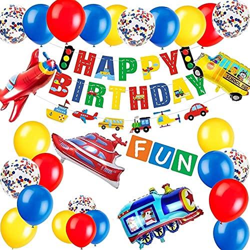 Korins Decoraciones para Fiesta de Cumpleaños para Niños Tema de Tráfico Banner de Cumpleaños Avión Tren Coche de Policía Autobús Látex Confeti Globos de Cumpleaños