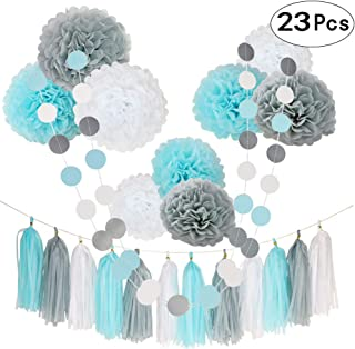 23 Pcs Blue White Happy Birthday 1st Baby Shower Party Wedding Favors Hanging Decorations Kit with Paper Tissue Flowers Tassel Hangings and Dots Garlands Decorations