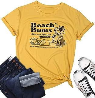 Beach Shirts for Women Beach Bums Aloha Beach Letters Short Sleeve Graphic Print Tee T-Shirt Tops