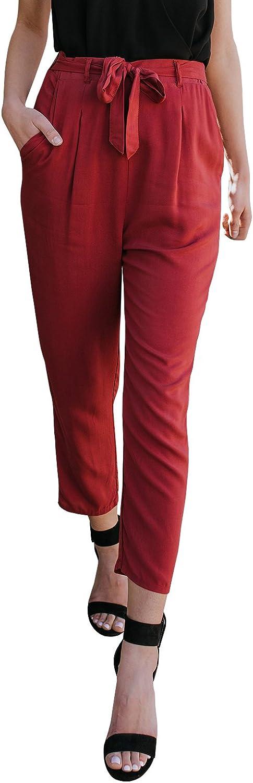 Geckatte Womens Casual Straight Leg Pants Loose High Waist Capri Pants with Pockets