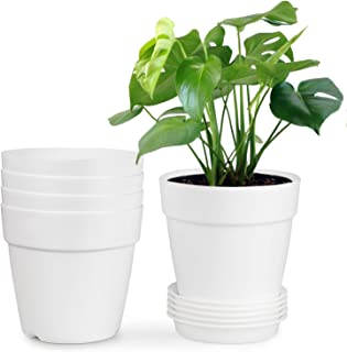 HOMENOTE 6.9 Inch Plastic Planters Indoor Set of 5 Flower Plant Pots with Drainage Pallet Modern Decorative Gardening for House Plants,Flowers,Succulents,Herbs Cream White
