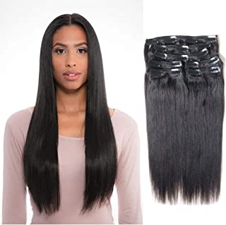 Vanalia 9A Perm Yaky hair extensions clip in human hair Double Wefted Natural Black 100% Remy Human Hair 120 Gram 7 Pieces 18 Clips for African American Black Women Yaki 14 Inch