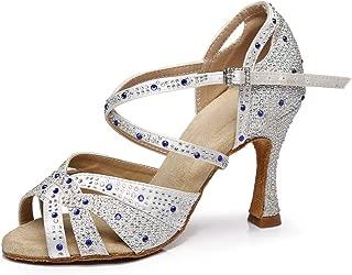 YKXLM Women's Professional Rhinestone Ballroom Wedding Dance Shoes Latin Salsa Performance Practice Dance Shoes,Model AUYCL388