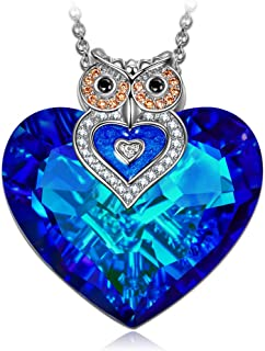 J.NINA ?Owl of Minerva? Mother's Day Jewelry Gifts for Women Owl Necklaces for Women Blue Swarovski Crystal Heart Necklace Sparking Jewelry Gifts for Her Girlfriend