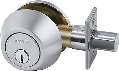 BESTTEN Single Cylinder Deadbolt, Adjustable Dead Bolt Door Lock, Keyed One Side, Thumb Turn Inside, Satin Chrome Finish, Rem
