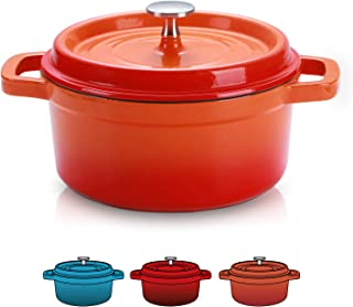 SULIVES Enameled Cast Iron Dutch Oven Bread Baking Pot with Lid,Orange,6qt