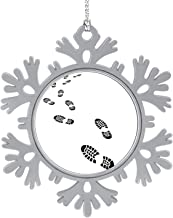 MOOCOM Trail of a Sport Shoes Prints- Footprint,Silver Snowflakes & Snowflakes Hanging New Year Party Home Decoration Walking 1PCS