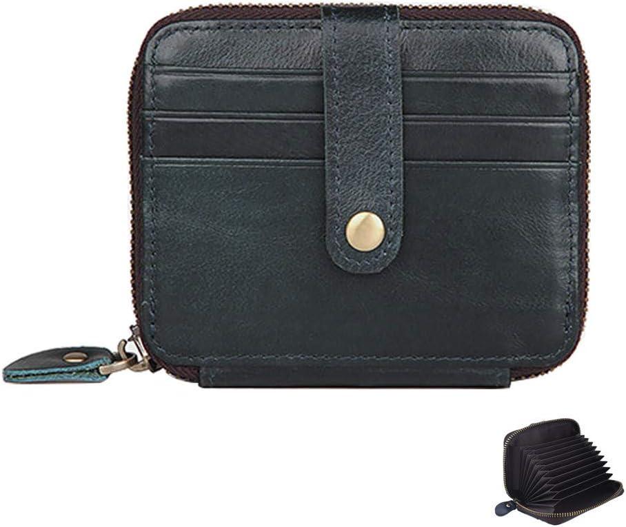 Credit Card Holder Wallets for Women Men - RFID Blocking Leather Zip Around Minimalist Travel Card Case Coin Purse (Midnight Blue)