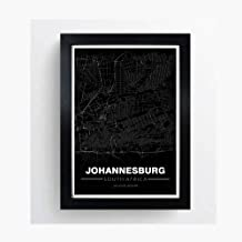 Johannesburg, South Africa Minimalistic Map - Poster Print Artwork - Professional Wall Art Merchandise - Coordinates, Black and White