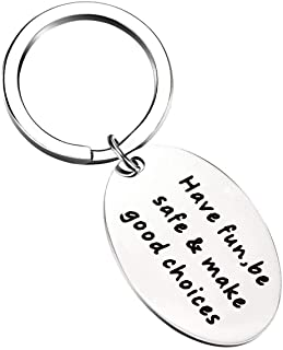 ENSIANTH New Driver Gift Have Fun Be Safe Make Good Choices Keychain Graduation Gifts