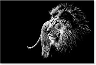 SEVEN WALL ARTS -Canvas Wall Art Animal Lion in Black White Wall Pictures Giclee Print on Canvas Stretched Living Room Bedroom Ready to Hang 24 x 36 Inch