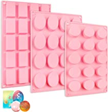 YGEOMER 3pcs Silicone Soap Molds, Round Rectangle Oval Soap Molds for Handmade Soap Candy Chocolate Cake with Sealed Bags,...