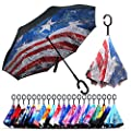 Owen Kyne Windproof Double Layer Folding Inverted Umbrella, Self Stand Upside-Down Rain Protection Car Reverse Umbrellas with C-Shaped Handle (American Flag)