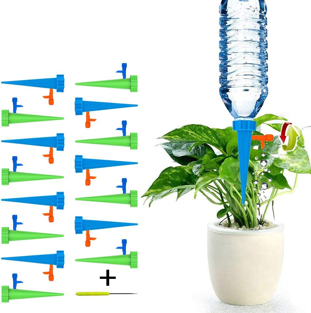 scsossw Self Watering Spike 20 Pcs, Universal Plant Watering Devices    Automatic Vacation Drip Irrigation with Slow Release Control Switch Support  for ...
