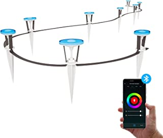 HYDONG Path Lights Outdoor, 9 LED Bluetooth Control In-Ground Lights, IP65 Waterproof Garden Landscape Lights for Yard Deck Lawn Patio Pathway Walkway (RGB+ Warm White)