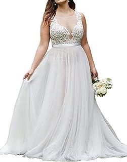 148c3e1283657 WeddingDazzle Plus Size Lace Beach Wedding Bridal Long Train Bride Dresses  for Women's