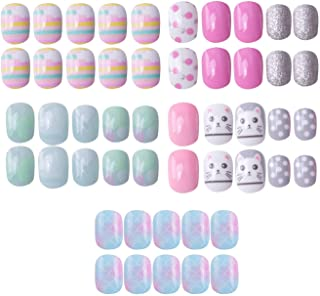 120 pcs 5 Pack Children Nails Press on Pre-glue Full Cover Short Blue Pink Gradient False Nail Kits Great Christmas Gift for Kids Little Girls