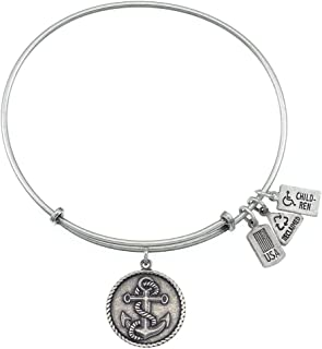 Wind and Fire Women's Silvertone Anchor with Rope Bracelet