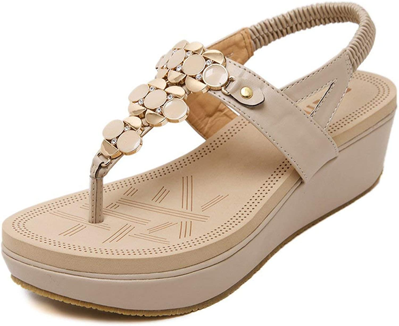 Gedigits Women's Sweet Bohemian Rhinestone Ankle Strap Platform Wedge Thong Sandals Beige 8 M US